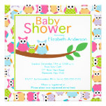 Mum & Dad Owls with Baby Owl Baby Shower Personalized Announcement