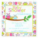 Mum & Dad Owls with Baby Owl Baby Shower 13 Cm X 13 Cm Square Invitation Card