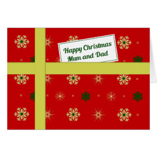 Mum dad red christmas parcel greeting card