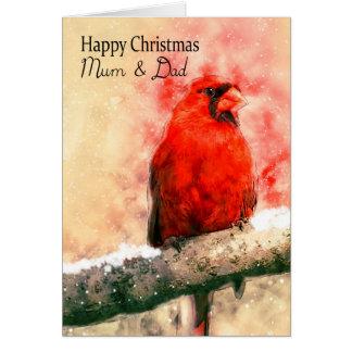 Mum & Dad, watercolor Christmas cardinal bird on a Greeting Card