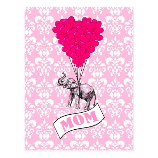 Mum, elephant and heart balloons postcard
