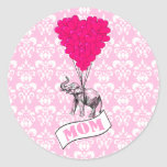 Mum, elephant and heart balloons round stickers