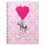 Mum, elephant and heart balloons spiral note book