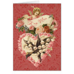 Mum, Happy Valentine's Day, vintage angel, roses Greeting Card
