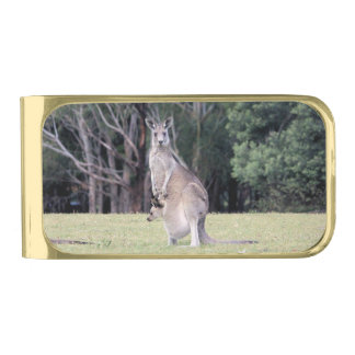Mum Kangaroo with Baby Joey in Her Pouch Gold Finish Money Clip