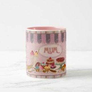 Mum Mug, Sweets, Cakes, Ice Cream, Puddings Two-Tone Mug