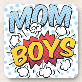 Mum of Boys Mother's Day Comic Book Style Beverage Coasters