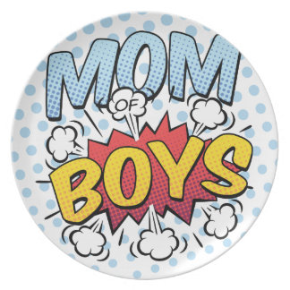 Mum of Boys Mother's Day Comic Book Style Party Plate
