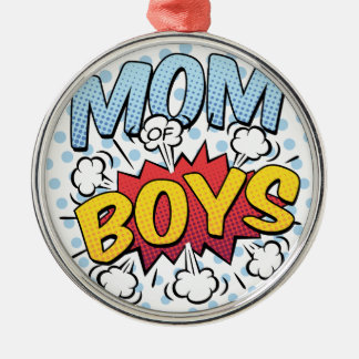 Mum of Boys Mother's Day Comic Book Style Silver-Colored Round Decoration