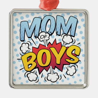 Mum of Boys Mother's Day Comic Book Style Silver-Colored Square Decoration