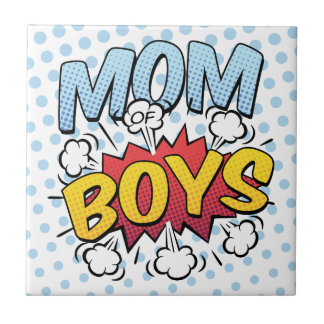Mum of Boys Mother's Day Comic Book Style Small Square Tile