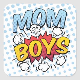 Mum of Boys Mother's Day Comic Book Style Square Sticker