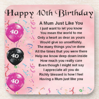 Mum Poem -  40th Birthday Drink Coasters