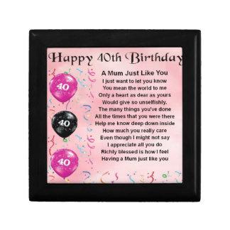 Mum Poem -  40th Birthday Small Square Gift Box