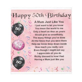Mum Poem - 50th Birthday Notepad