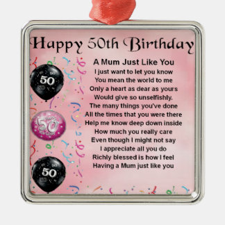 Mum Poem - 50th Birthday Silver-Colored Square Decoration