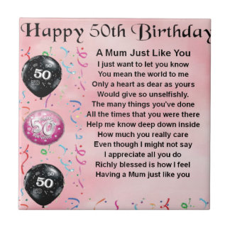 Mum Poem - 50th Birthday Small Square Tile