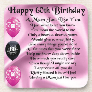 Mum poem  - 60th Birthday Beverage Coasters