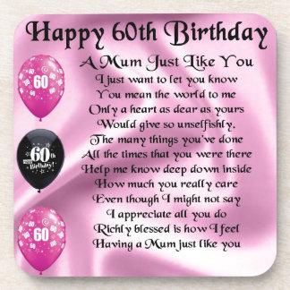 Mum poem  - 60th Birthday Beverage Coasters