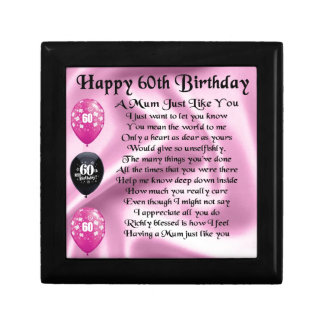 Mum poem  - 60th Birthday Small Square Gift Box