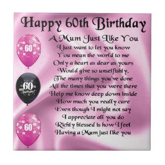 Mum poem  - 60th Birthday Small Square Tile