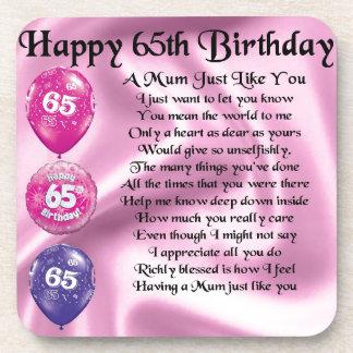 Mum Poem  -  65th Birthday Coasters