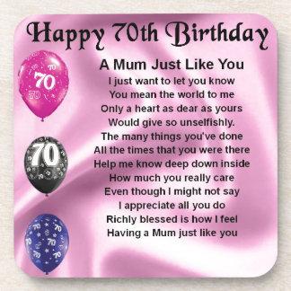 Mum Poem  -  70th Birthday Beverage Coaster