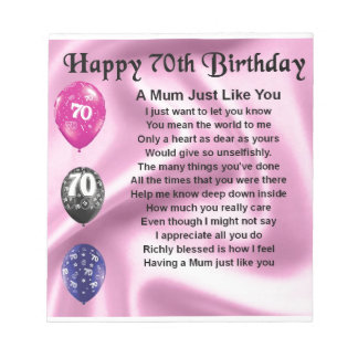 Mum Poem  -  70th Birthday Notepad