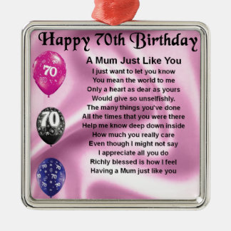 Mum Poem  -  70th Birthday Silver-Colored Square Decoration