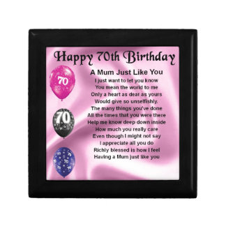 Mum Poem  -  70th Birthday Small Square Gift Box