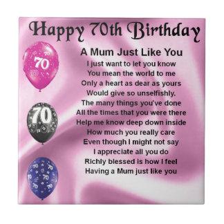 Mum Poem  -  70th Birthday Small Square Tile