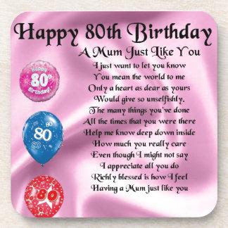 Mum Poem - 80th Birthday Coasters