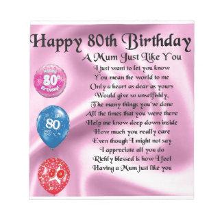 Mum Poem - 80th Birthday Notepad