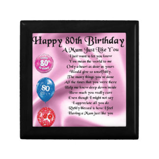 Mum Poem - 80th Birthday Small Square Gift Box