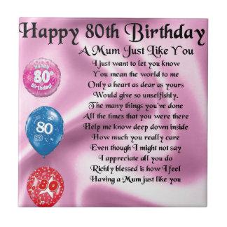 Mum Poem - 80th Birthday Small Square Tile