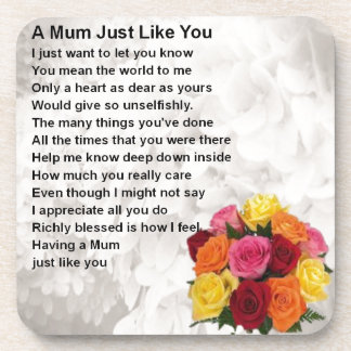 Mum Poem  -  Flowers  Design Drink Coaster