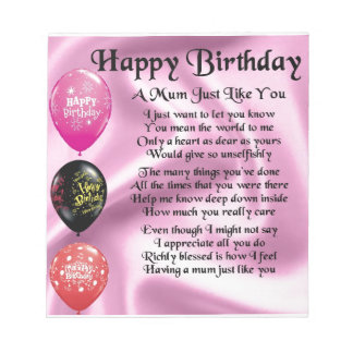 Mum Poem  -  Happy Birthday Notepad