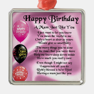 Mum Poem  -  Happy Birthday Silver-Colored Square Decoration
