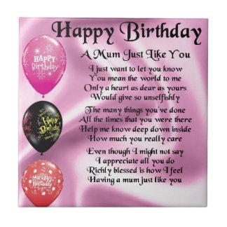 Mum Poem  -  Happy Birthday Small Square Tile