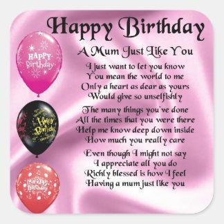 Mum Poem  -  Happy Birthday Square Sticker