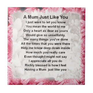 Mum Poem - Pink Floral Design Small Square Tile