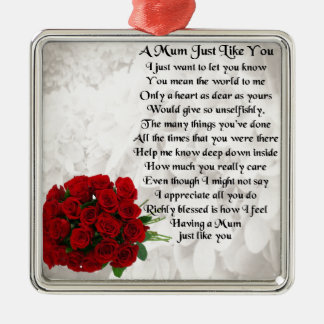 Mum Poem - Red Roses Silver-Colored Square Decoration