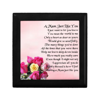 Mum Poem  -  Roses Design Small Square Gift Box
