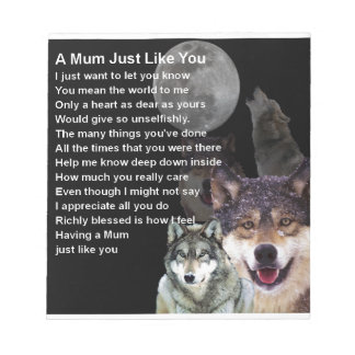 Mum Poem - Wolf Design Notepads