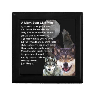 Mum Poem - Wolf Design Small Square Gift Box
