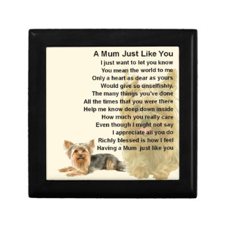 Mum Poem - Yorkshire Terrier Design Small Square Gift Box