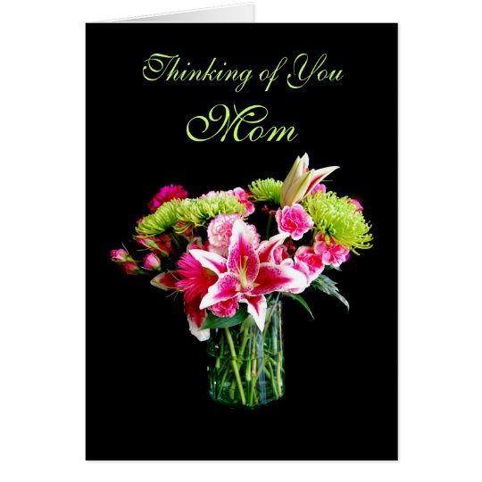 Mum, Thinking of You, Stargazer Lily Bouquet Card