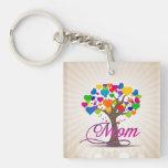 Mum Tree of Life Hearts Double-Sided Square Acrylic Key Ring