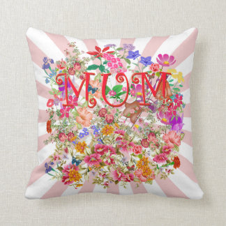 Mum, with flowers,butterflies throw pillow