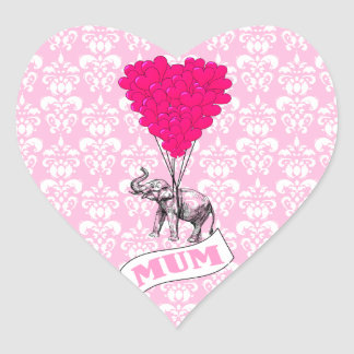 Mum with pink elephant heart stickers